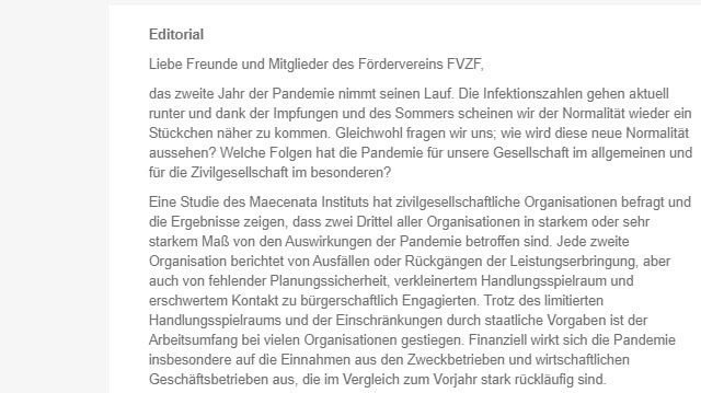 Newsletter FVZF
